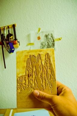 Holzschnitt auf der Buchdecke